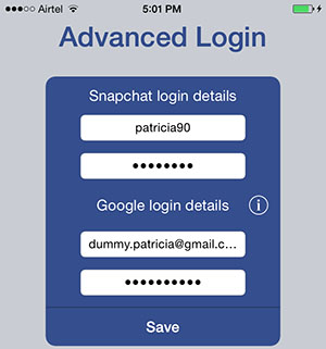 enter snapchat credentials in the Snap-Hack app
